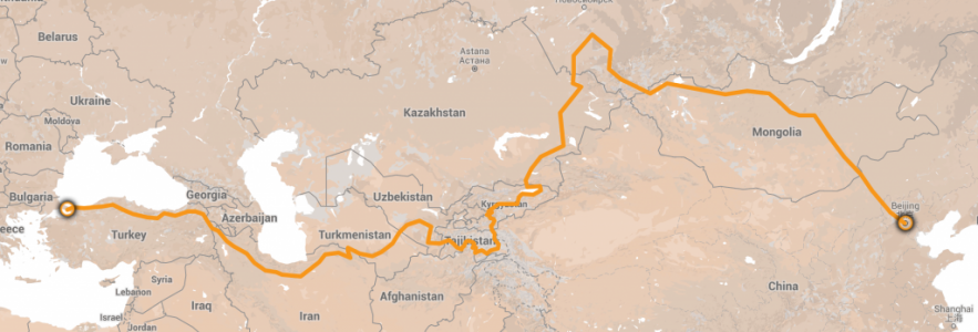 Map showing the Silk Route route