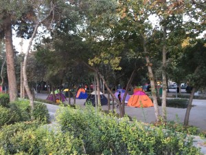 Local campers in the municipal park