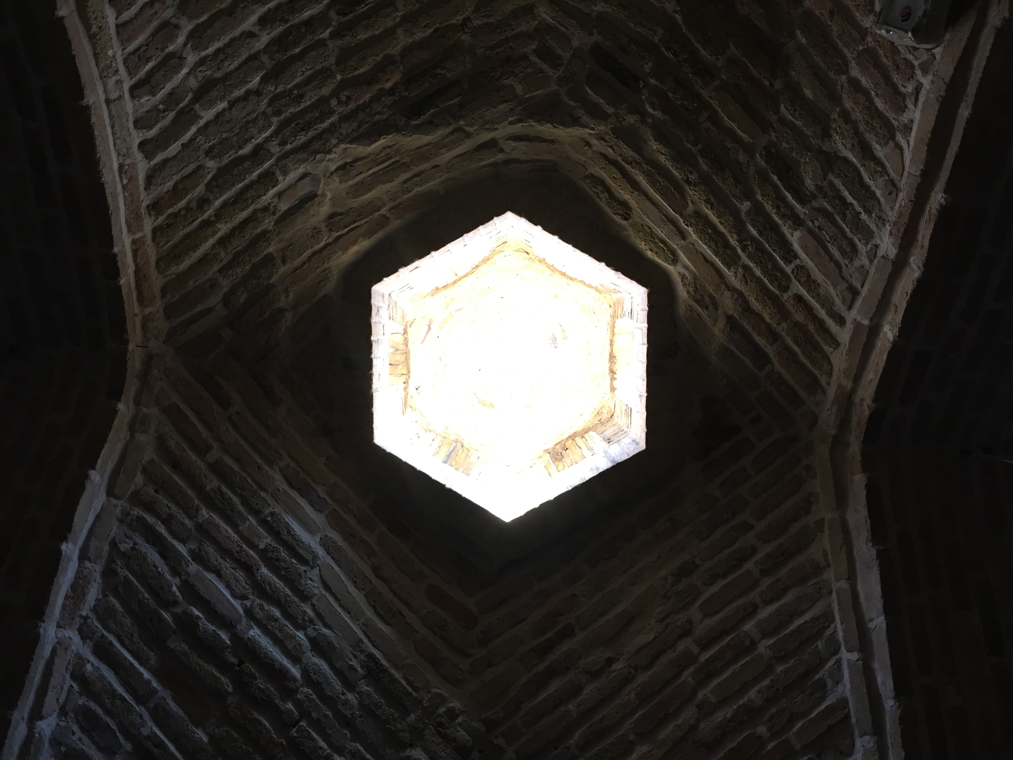 'Window' in the roof of the domed market hall