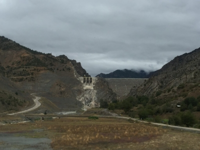 There's the dam, and somewhere up there on the left is the pass we have to go over