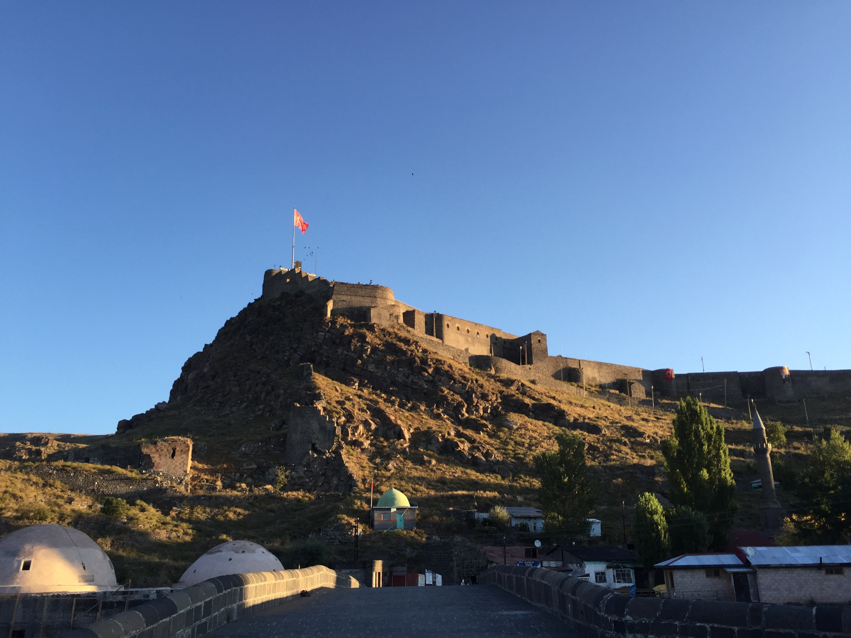 Kars castle in the morning light as we leave town