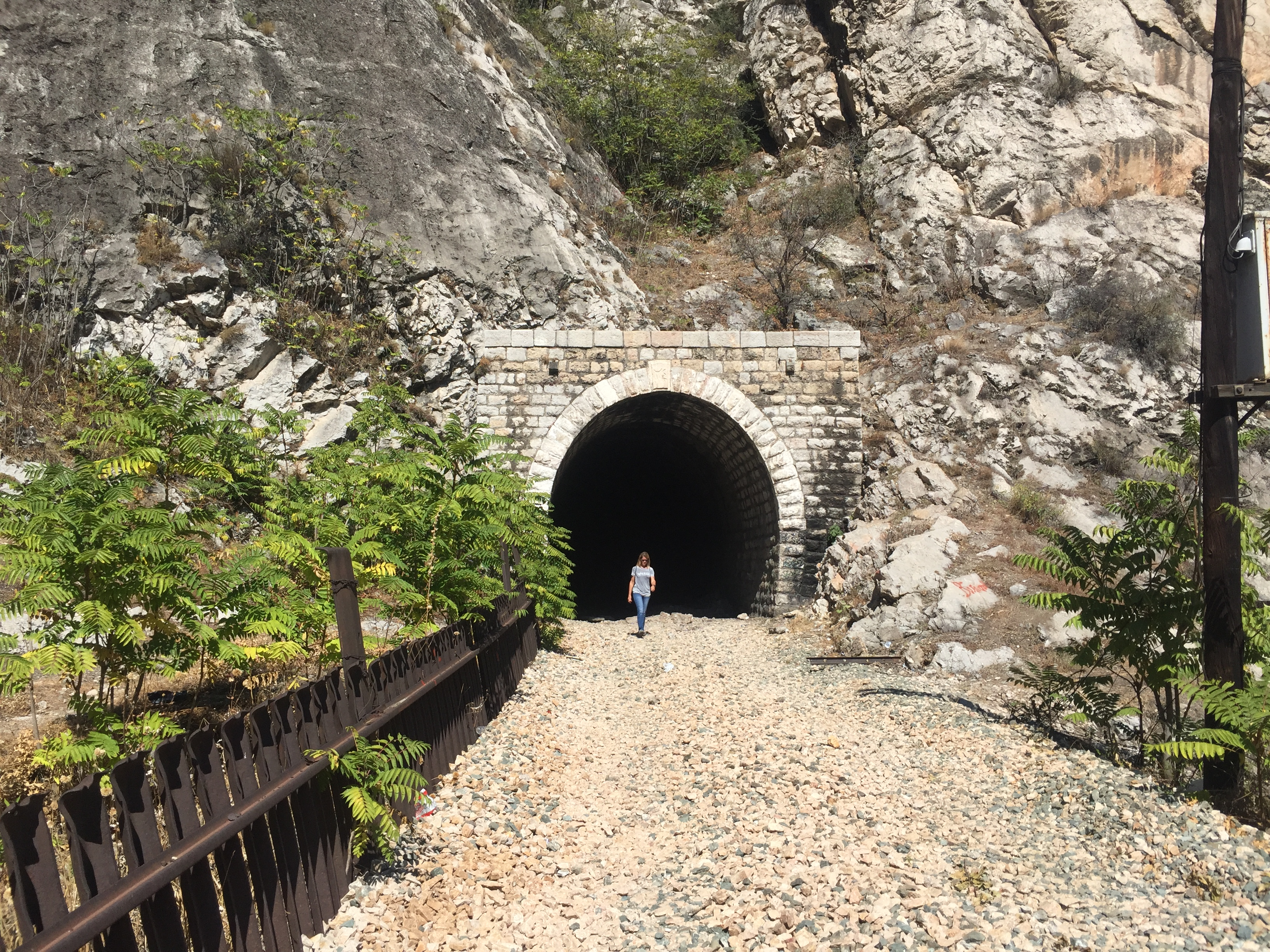 Ruth emerges from the railway tunnel