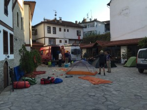 Typical pre-rest-day scene with tents drying and vans being cleaned and tidied
